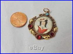 10K YELLOW GOLD with RED GLASS VICTORIAN HAND PAINTED PORTRAIT CHARM PENDANT 4gr