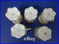 -10% vintage Nippon M hand painted pink floral green gold 11pcs coffee tea set