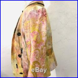 $1295 THE PEOPLE OF THE LABYRINTHS Leather Silk Moto Asymmetric Jacket XS