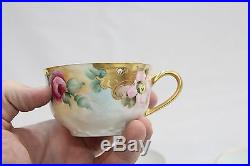 12pc Lot Old Porcelain Hand Painted Flowers Cups Gold Gilt Hutschenreuther Sauce