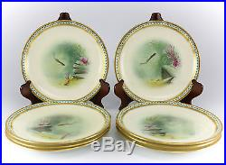 12pc. Minton Porcelain Hand Painted Game Plates Gold Encrusted c1902-1912