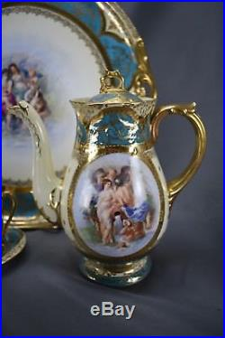 (12pc) Royal Vienna Pirkenhammer Hand Painted/Signed Classical Chocolate Set