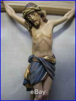 13 Hand Carved, Hand Painted Crucifix with Gold Leaf, Our Lord Dies for us