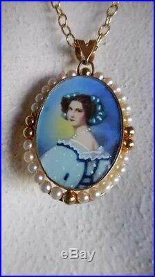 14K Yellow Gold Antique Pendant Hand Painted Victorian Portrait WithPearls Pin 11g