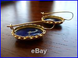 14K Yellow Gold Unique Hand-Painted Cobalt Blue Enamel Earrings signed France