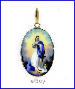 14k Yellow Gold Hand Painted Portrait Virgin Mary Immaculate Conception Pendant