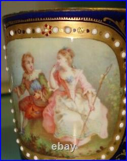 1754 Antique Vintage Sevres VINCENNES Jeweled hand painted gilt gold french cup
