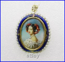 18k Yellow Gold Antique Enamel Pearl Hand Painted Victorian Lady Brooch Lb2364