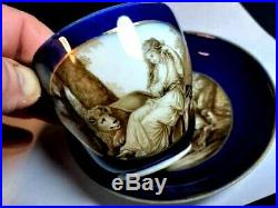 18th Century Signed Meissen Hand Painted Cobalt & Gold Cup & Saucer