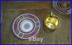 2 Antique Austrian Demitasse Cups & Saucers Hand Painted Portraits with Gold