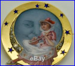 $30000 Imperial Russian Faberge 18k gold, Diamonds&hand painted enamel brooch. Box