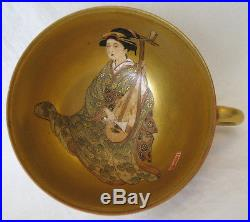 3 Japanese Satsuma Cups & 2 Saucers / Geshias on gold ground / Hand-painted