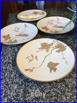 4 Exquisite Fischer & Mieg Bird & Dragonfly 9 Plates! , Hand Painted In Gold