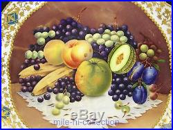 5-piece Limoges Hand Painted Fruit Serving Set Gold Charger Plates A. Walter