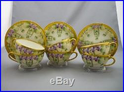 6 W Pickard Hand Painted Violet Flowers Gold China Tea Cups & Saucers Teacups