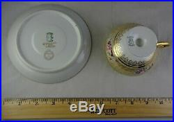 8 Antique Guerin Limoges Footed Cup & Saucer Sets Heavy Gold Hand Painted Floral