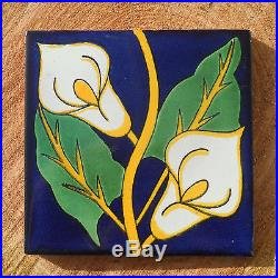 90Talavera Mexican 4 tile pottery hand painted Green gold yellow cream RELOJ