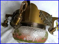 ANTIQUE Art Deco 1920's Bronze Ceiling FIxture CHANDELIER withHAND PAINTED SHADE