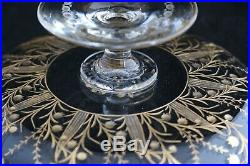 ANTIQUE BOHEMIAN MOSER STYLE ENGRAVED GLASS GOLD GILT compote footed dish