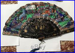 Antique Chinese Gold Lacquer Hand Painted Court Figural Scene Fan