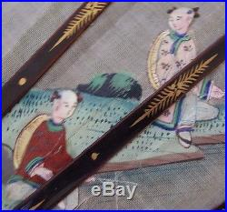 ANTIQUE FAN SUPERB CHINESE GOLD LACQUER & HAND PAINTED FIGURES ON SILK circ 1880