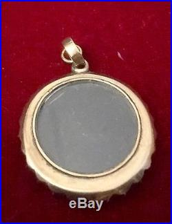ANTIQUE GEORGI C1770 HAND-PAINTED SEPIA SEED-PEARL 14ct GOLD MOURNING PENDANT