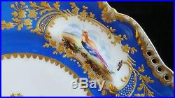Antique Herend Handpainted Porcelain Cabnet Plate Birds Gold Encrusted Accent