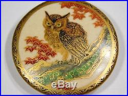 ATQ LARGE JAPANESE HAND PAINTED SATSUMA OWL GOLD POTTERY CERAMIC BUTTON 2 INCH