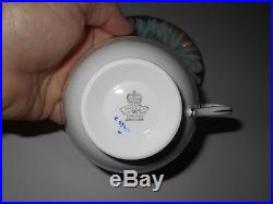 Aynsley Blue/gold Handpainted Chrysanthemum & Butterfly Cup & Saucer