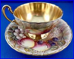 Aynsley England Bone China Hand Painted Fruit, Gold Cup & Saucer Signed D. Jones