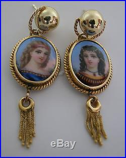 A Fine Gorgeous 14k Yellow Gold And Hand Painted Enameled Pair Of Earrings