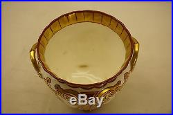 American Belleek Porcelain Cache Pot Footed Vase Jardiniere Hand Painted Gold