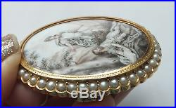 Anrique Gold Mytholocial Hand Painted Victorian SEPIA Seed Pearl Brooch