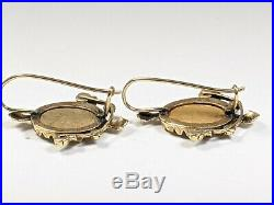 Antique 14k Gold Hand Painted Cameo Lock Earrings Turquoise And Onyx Beautiful
