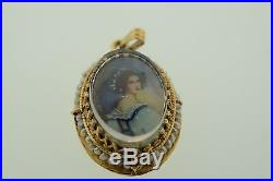 Antique 14k Yellow Gold Hand Painted Portrait Cameo with Seed Pearls Pendant