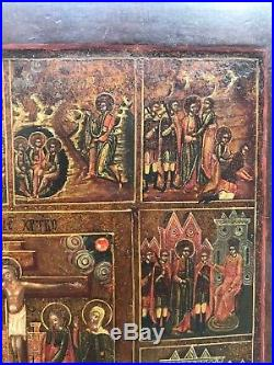 Antique 19c Russian Hand Painted Wood Icon Passions of the Christ ON GOLD