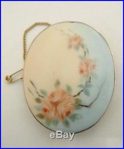 Antique Australian 9ct Gold Hand Painted Ceramic Brooch J Lawrence Melbourne