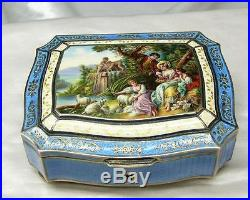 Antique BIRKS Austria Sterling Silver Enamel Hand Painted Box w Gold Signed