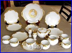Antique Bavarian China 19 Pc Set Hand-Painted Gold Encrusted