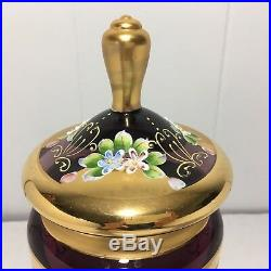Antique Bohemian Czech Enameled Purple & Gold Glass footed covered candy dish