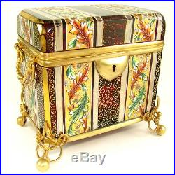 Antique Bohemian Moser Enamel Gold Silver Hand Painted Ruby Glass Box Casket