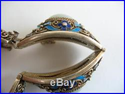 Antique Chinese Gold Sterling Silver Jade Hand Painted Enamel Dome Link Bracelet