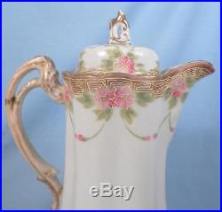 Antique Chocolate Pot Hand Painted Nippon Pink Flowers Swags Gold Porcelain