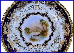 Antique Coalport Hand Painted Signed E. Ball Scenic Cobalt Gold Cabinet Plate