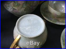 Antique Dessert Set 16pc Pink Flowers & Gold Hand Painted Germany Cups Dishes &
