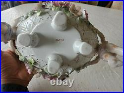 Antique Dresden Hand Painted Footed Cherub Bowl Flowers Gold