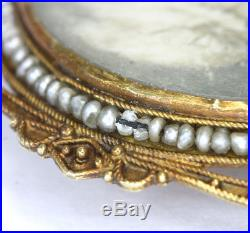 Antique Edwardian hand painted portrait pin brooch 14K yellow gold seed pearls