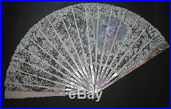 Antique French Hand Carved Gold Mother Of Pearl Brussels Lace Painted Silk Fan