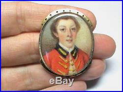 Antique Georgian 9k 9ct Gold Hand painted Soldier Miniature Clasp Large
