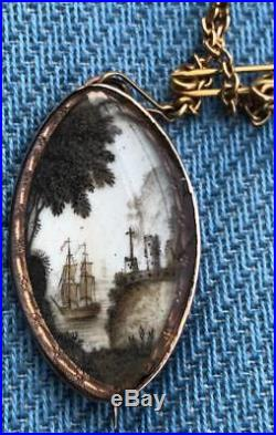 Antique Georgian Gold Hand Painted Sepia Navette Mourning Brooch / Pendant